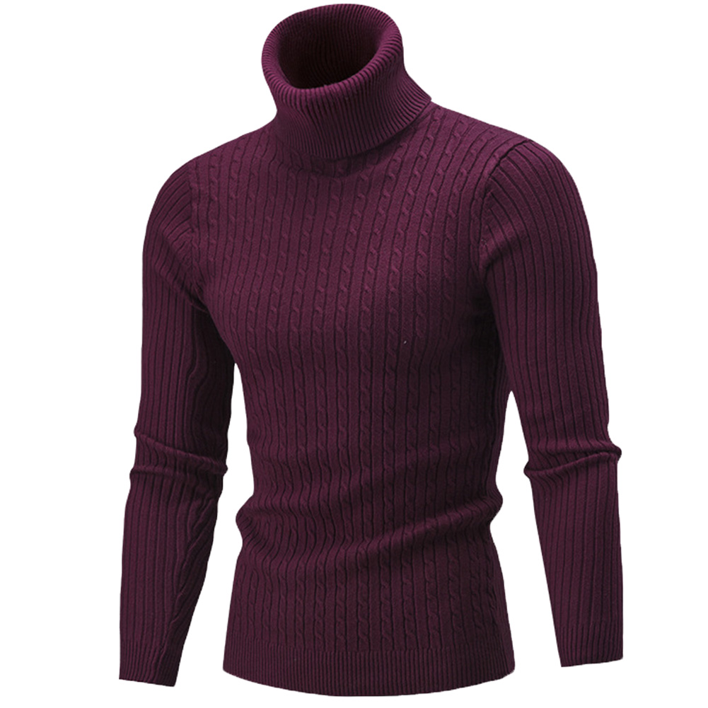 Fashion Winter Chic Men Solid Color Turtleneck Long Sleeve Knitted Sweater Bottoming Top Acrylic Sweater Standard Wool  M-3XL 4