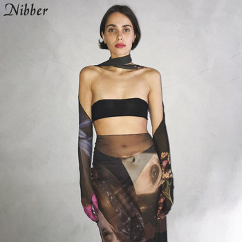 Nibber Mode Grafik Gedruckt Dünne Mesh Sehen-Durch Zwei Stück Set Frauen Sexy Liebsten Und Bodycon Röcke Clubwear Outfit