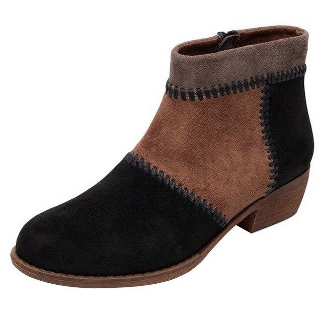 MoneRffi nueva llegada botas de cuero gamuza para mujeres zapatos tacón grueso con cremallera cálido corto felpa primavera otoño