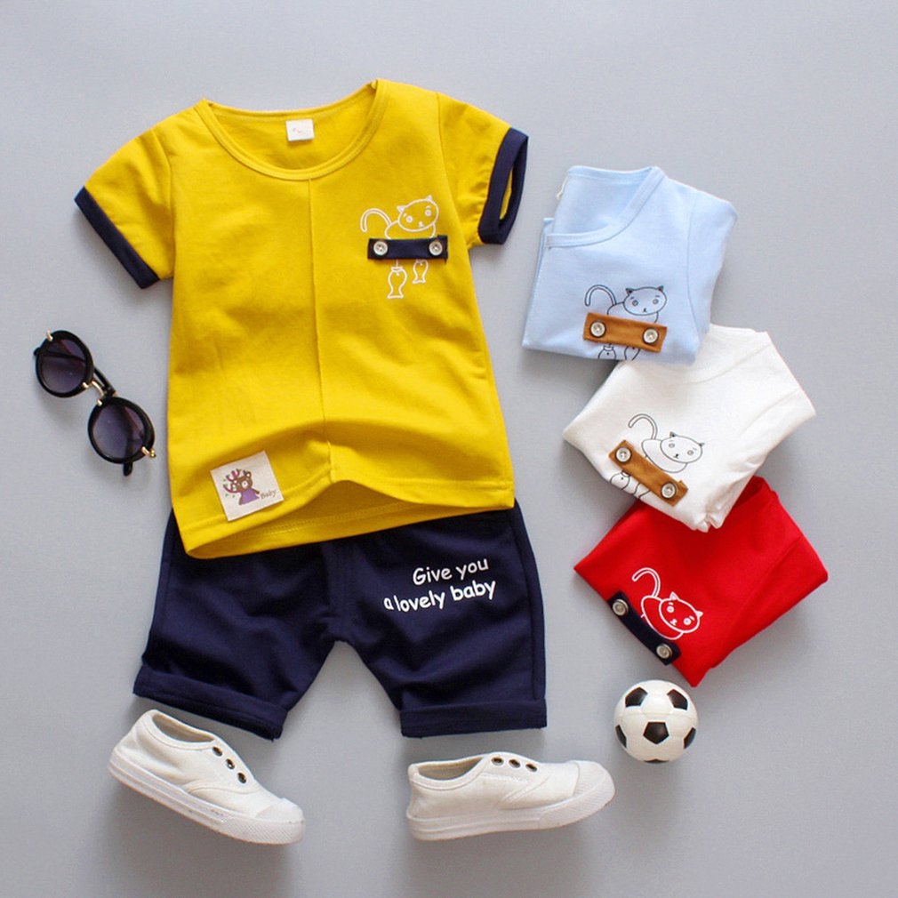Summer Korean Children'S Clothing Solid Color Cartoon Puppy Boys And Girls Set Two-Piece Short-Sleeved Pants
