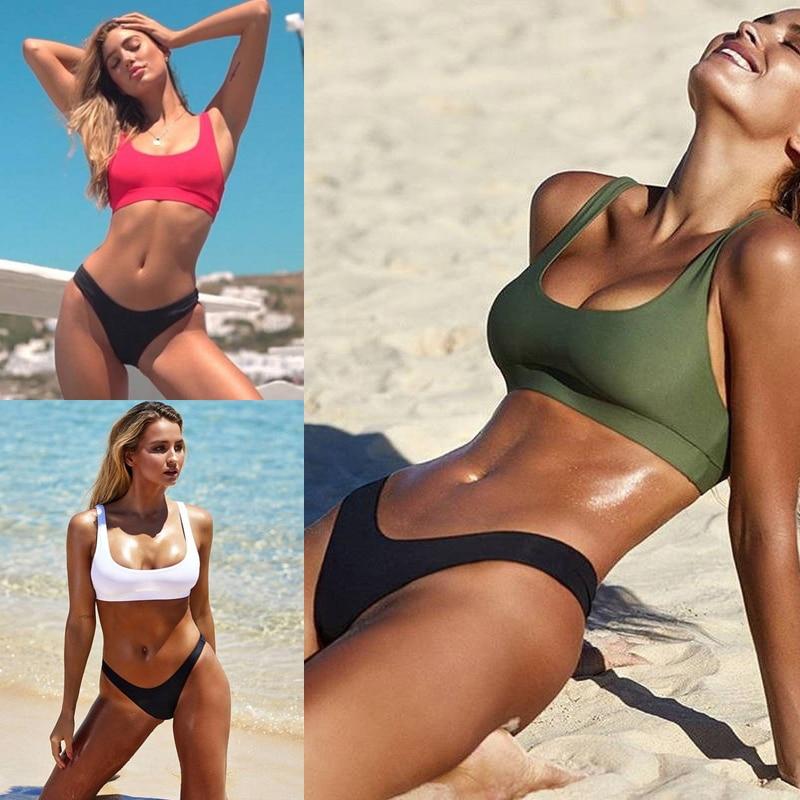 Sexy High Waist Bikinis Women 2019 New Swimwear Solid Bikini Sports Vest Swimsuit Beachwear Bikini Sets Sunbathing Party Summer
