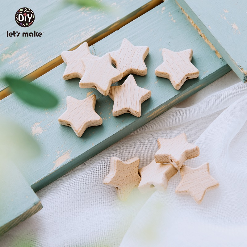 Let's Make Wood Teether 50Pcs Star Shape Wooden Beads Bpa Free Teething Toys Diy Pacifier Chain Beech Wood Bead Baby Teethers