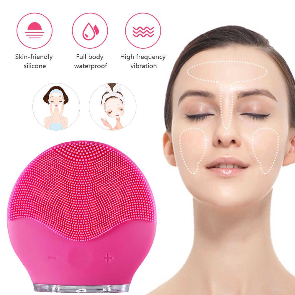 Nettoyant pour le visage brosses de lavage brosse de nettoyage du visage électrique Mini brosses faciales électriques Silicone imperméable brosse propre pour le visage