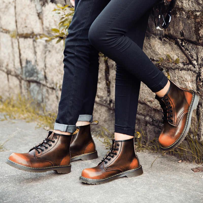 サイズ 35 〜 47 ユニセックス牛革毛皮ドクブーツ冬秋の靴の男性のオートバイのアンクル雪のブーツカップルオックスフォードブーツ