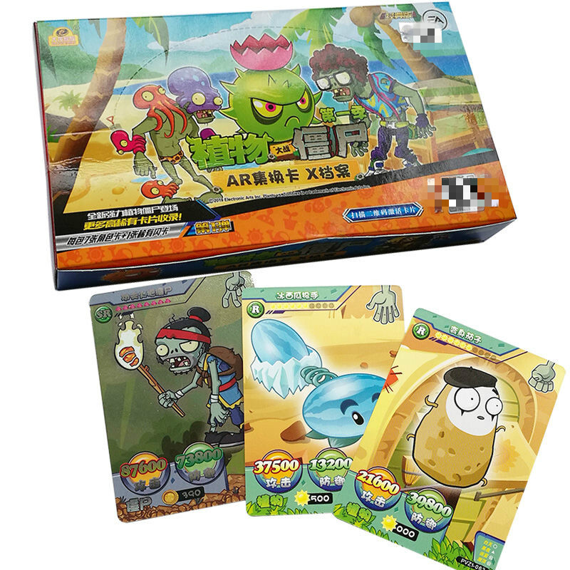 240pcs/set Plants Vs Zombies Big Wave Beach Cards Plants Zombies Platinum Collect Card Pea Shooter Sunflower Trade Card Kid Toy 1