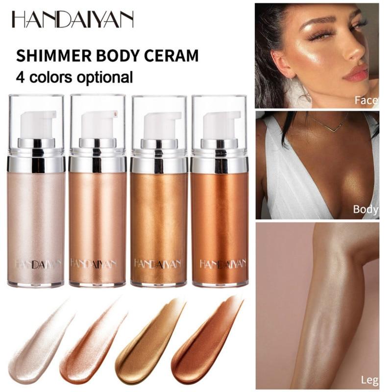 HANDAIYAN Body Bronzer Highlighter Liquid Shimmer Brighten Glow Rose Gold Highlight Makeup Waterproof