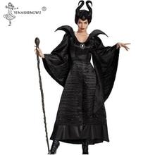 M XL 플러스 크기 할로윈 Maleficent 코스프레 의상 여자 무서운 공포 의류 뿔으로 설정 블랙 퀸 마녀 의류 5 크기