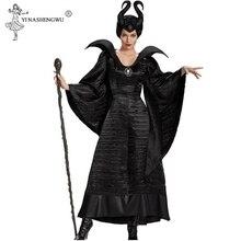 M XL artı boyutu cadılar bayramı Maleficent Cosplay kostümleri kadın korkunç korku giyim seti boynuzları ile siyah kraliçe cadı giyim 5 boyutu