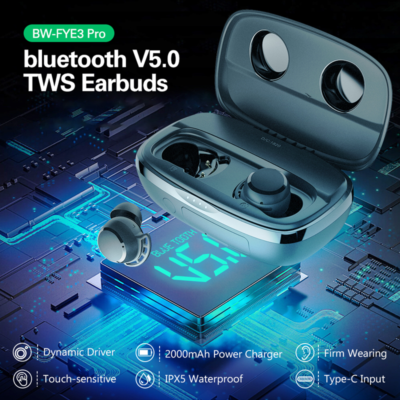 Blitzwolf BW-FYE3 pro alta fidelidade sem fio fone de ouvido tws bluetooth v5.0 esportes fones estéreo hd chamada controle toque power bank earphon