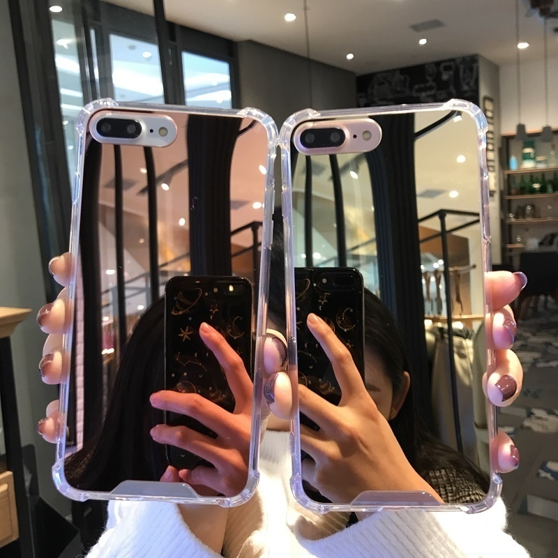Luxury Clear Mirror <font><b>Case</b></font> For <font><b>iPhone</b></font> X XS Max XR 8 7 6 S 6S Plus Hybrid TPU Airbag Shockproof Phone <font><b>Case</b></font> for <font><b>iphone</b></font> 7 Cover Coque image