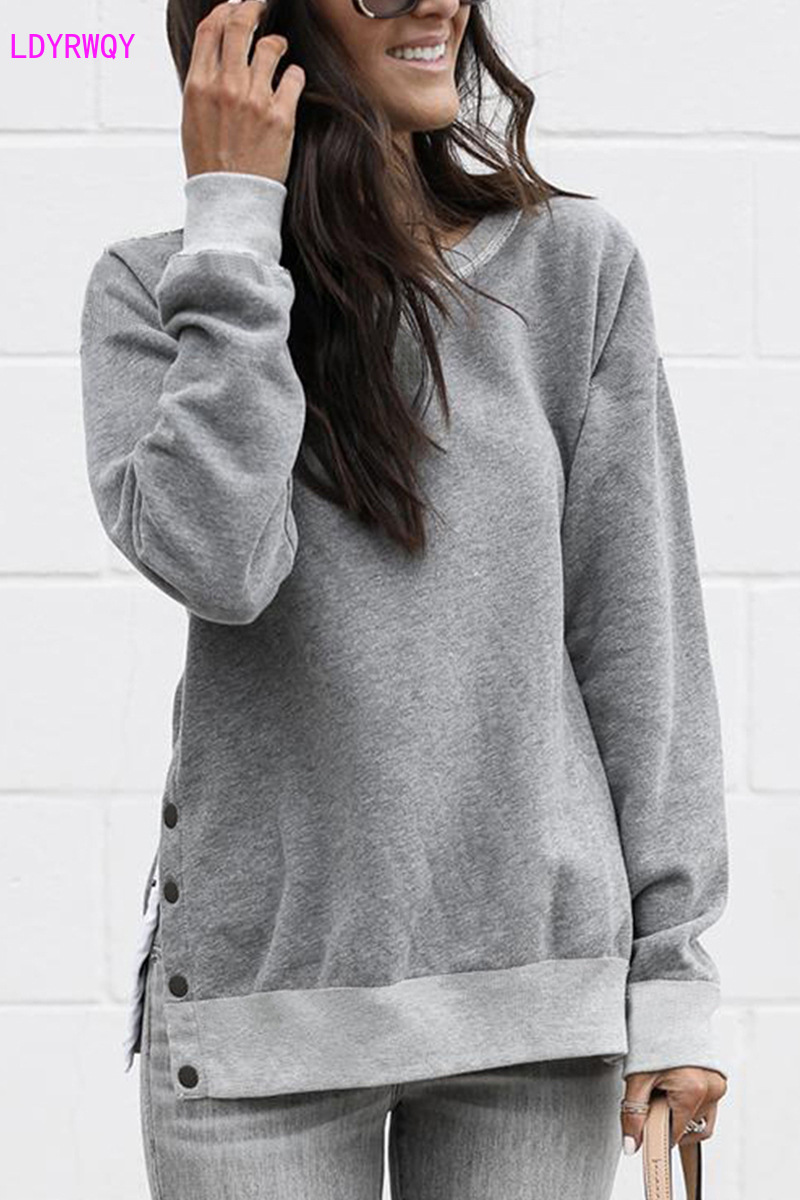 2019 new autumn and winter European and American style fashion temperament round neck button long sleeve hoody women