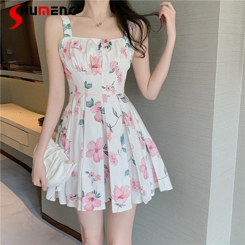 2021 Summer Ladies Fashion Sweet Gentle Suspender Mini Dress Women New French Style Elegant Sexy Waist Trimming Above Knee Dress