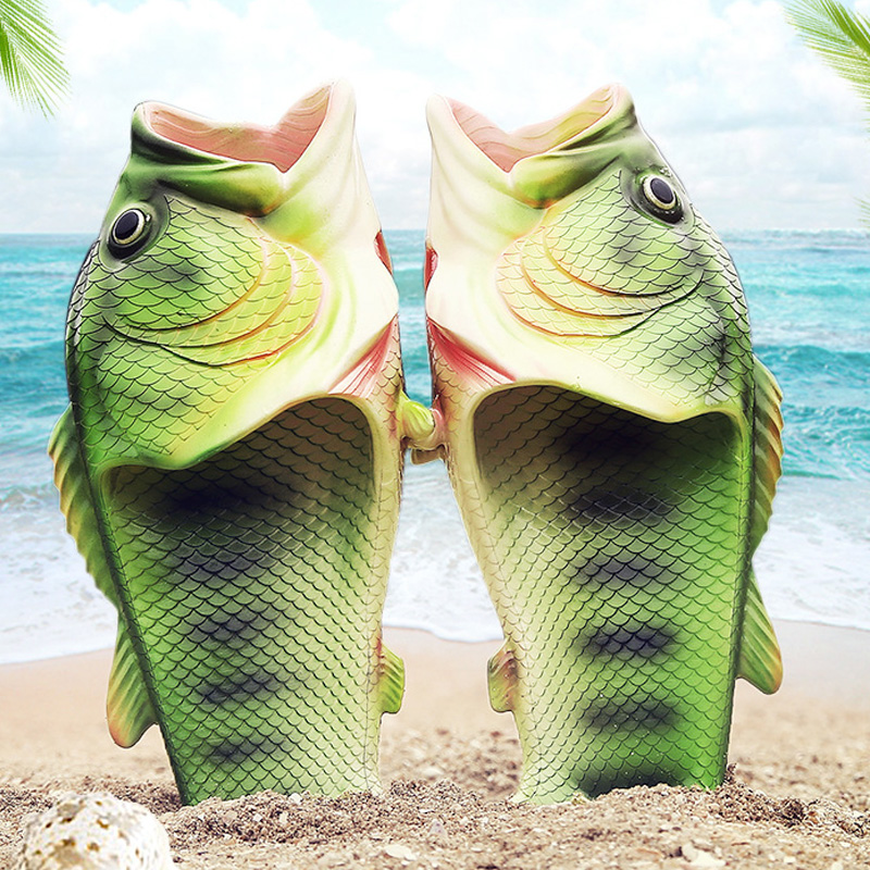 Family Funny Fish Shoes Women Large Size 32-47 High Quality PVC Girls Summer Shoes Beach Slippers Woman Slides