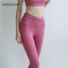цена на Women Active Wear Sports Leggings High Waisted Yoga Pants Ladies Pilates Training Stretchy Pink-color Gym Pants thin breathable