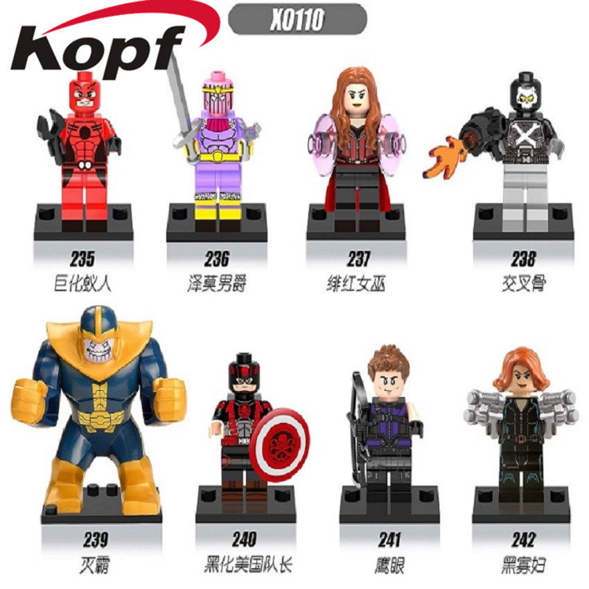 Building Blocks Super Heroes Thanos Hawkeye Hydra Captain America Black Bricks Dolls Action Figures X0110 Toys For Children Kids