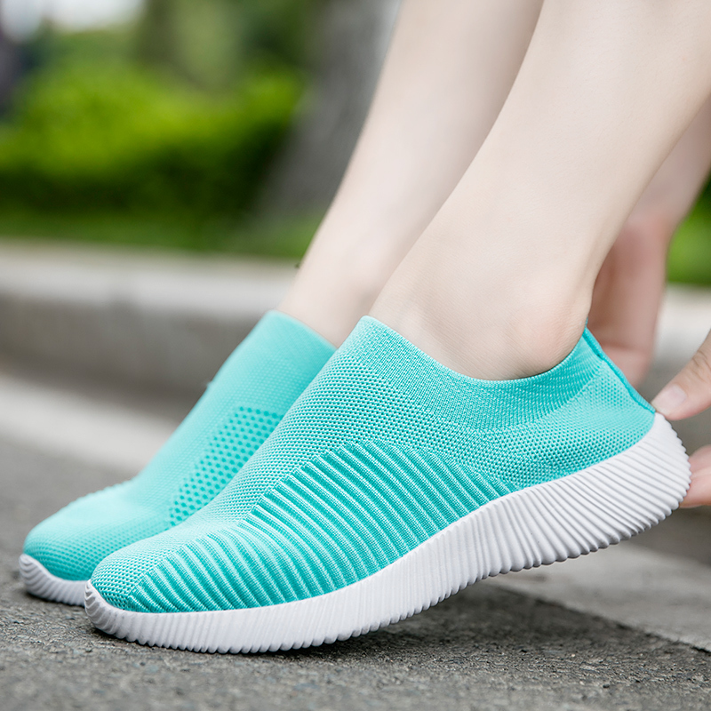 Rimocy breathable air mesh autumn 2019 flat heels sneakers women casual slip on stretch knitted sock platform shoes woman flats bracelet
