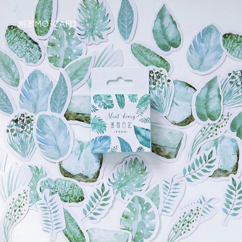 45Pcs/Pack Green Watercolor Leaves Pattern Stickers Decoracion Boxed Scrapbooking DIY Office Stationery School Supplies