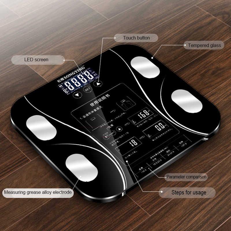 Balance de graisse corporelle de salle de bain balances BMI balances électroniques intelligentes Balance de bain LED Balance de pesage domestique numérique