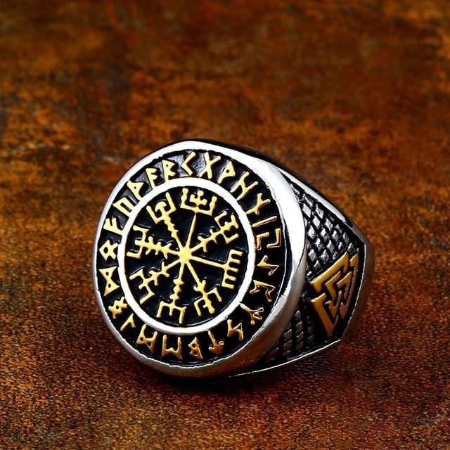 Viking Valknut Helm of Awe pierścień ze stali nierdzewnej męska Aegishjalmur Odin islandzki Runes Celtics węzeł biżuteria prezent Amulet R2189