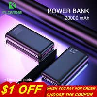 FLOVEME Power Bank 20000mAh Double USB Phone charger External Battery Portable Charger Bateria Externa smart Power Bank 10000mah