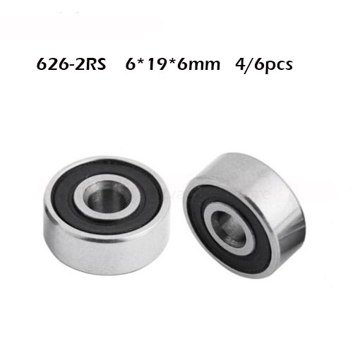 626RS Bearing ABEC-1 (4/6PCS) 6x19x6 Mm Rubber Cover Sealed 626-2RS Ball Bearings 626 RS / 2RS