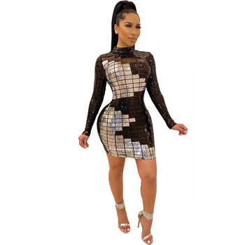 Spring 2020 New Sequin Dress Europe and America Women's Long Sleeve Dress Net Gauze White Black Sequin Dress 4