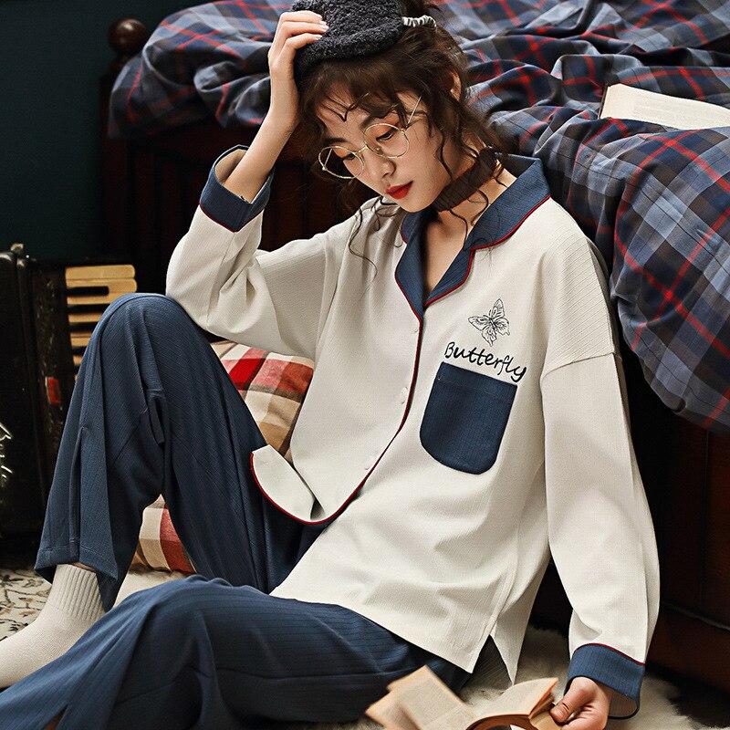 Women Pajamas Cotton Autumn Pijama Winter Long Sleeves Pyjamas Women Pocket Cardigan Home Clothes Top And Pants Sleepwear