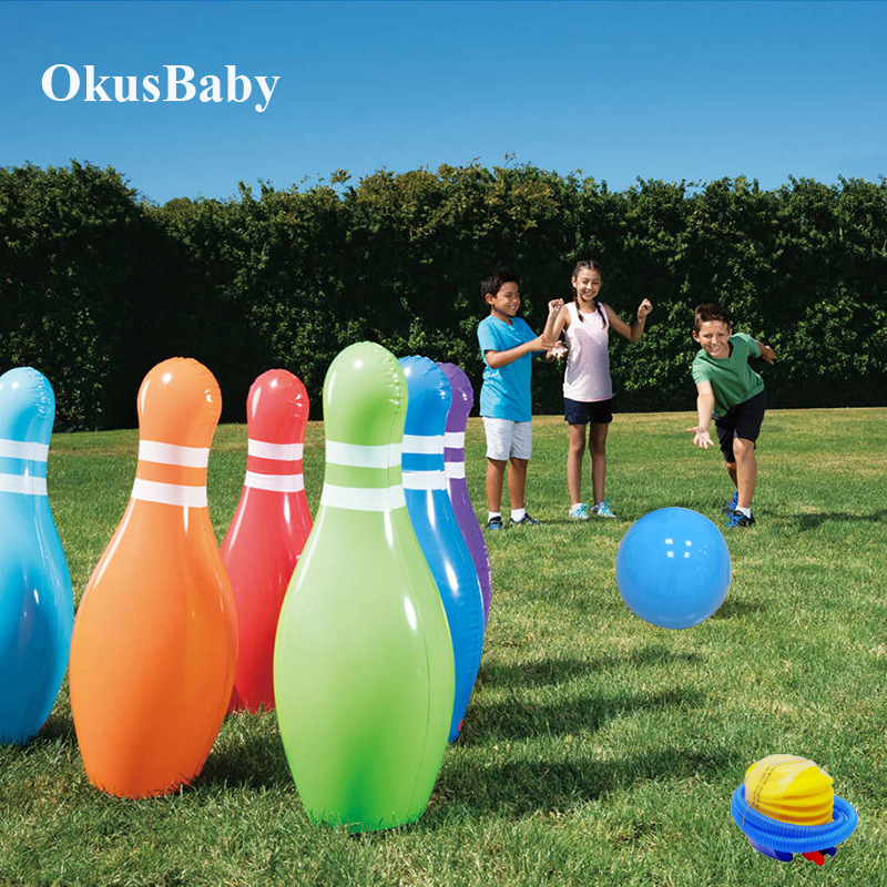 7pcs Set Of Outdoor Sport Lawn And Beach Giant Bowling Ball Summer Inflatable Children Home Play Family Game Toys Kids Gift