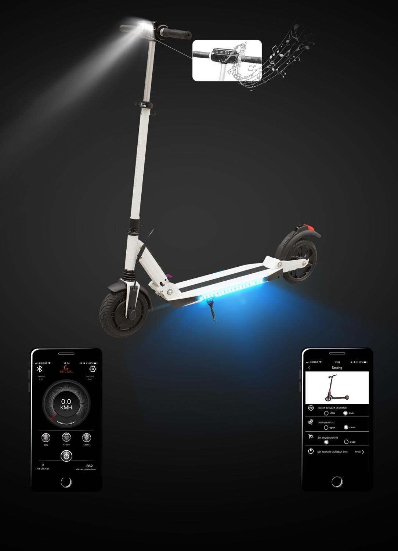 8.5 pouces Scooter électrique Smart App E Scooter planche à roulettes Mini pliable Hoverboard Patinete Electrico adulte 40km batterie adulto