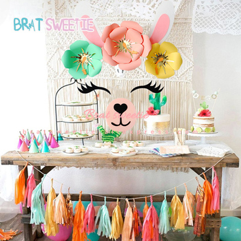 Llama Party DIY Fake Paper Flower Artificial Flowers Set for Summer Wall Wedding Decorations Alpaca Birthday Party Supplies