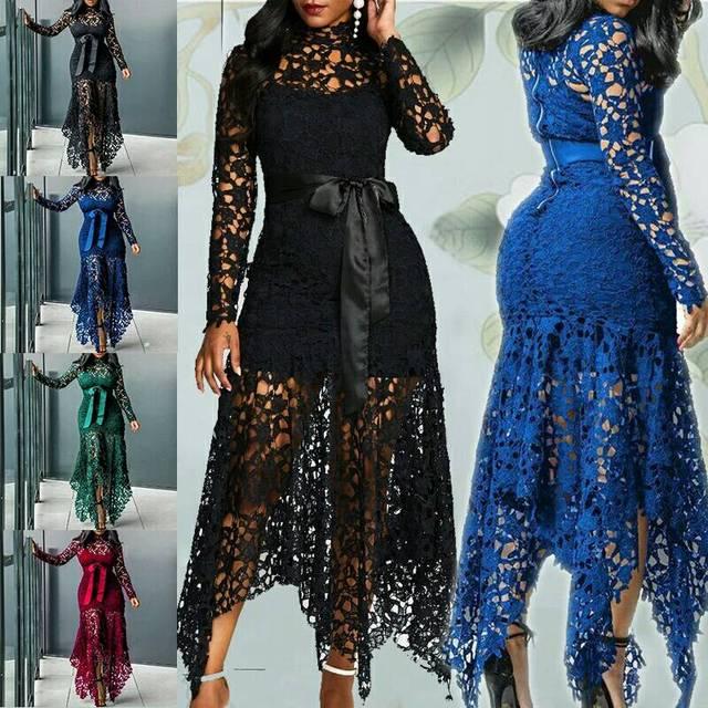 Echoine Slim Sexy Dress Women Spaghetti Straps Lace Mesh Perspective Party Fishtail Patchwork Midi Bodycon Plus Size Vestidos 1
