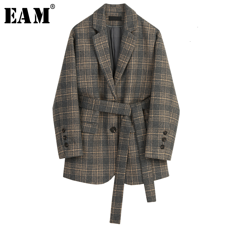 [EAM] Women Plaid Bandage Big Size Woolen Blazer New Lapel Long Sleeve Loose Fit Jacket Fashion Spring Autumn 2020 19A-a71