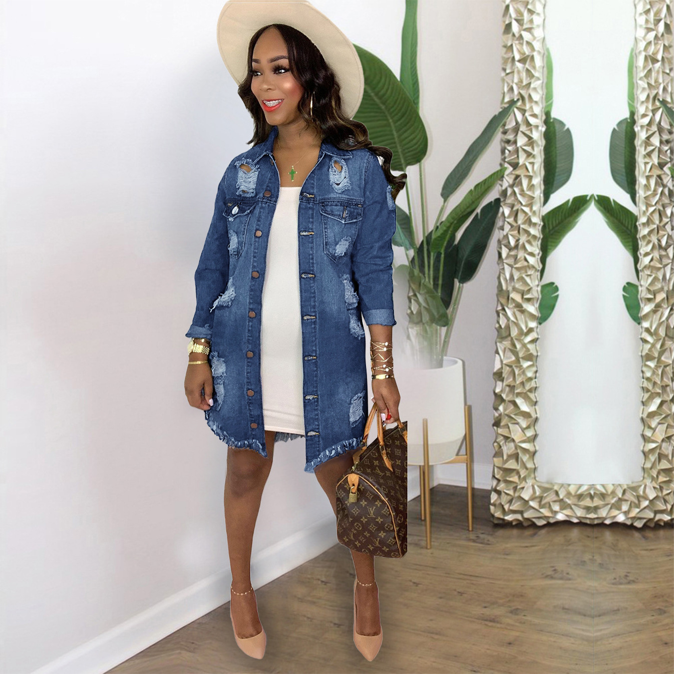 plus size women denim jacket fashion Hole long sleeve casual jackets 2021 new arrivals knee length oversize denim jacket 2XL 3XL