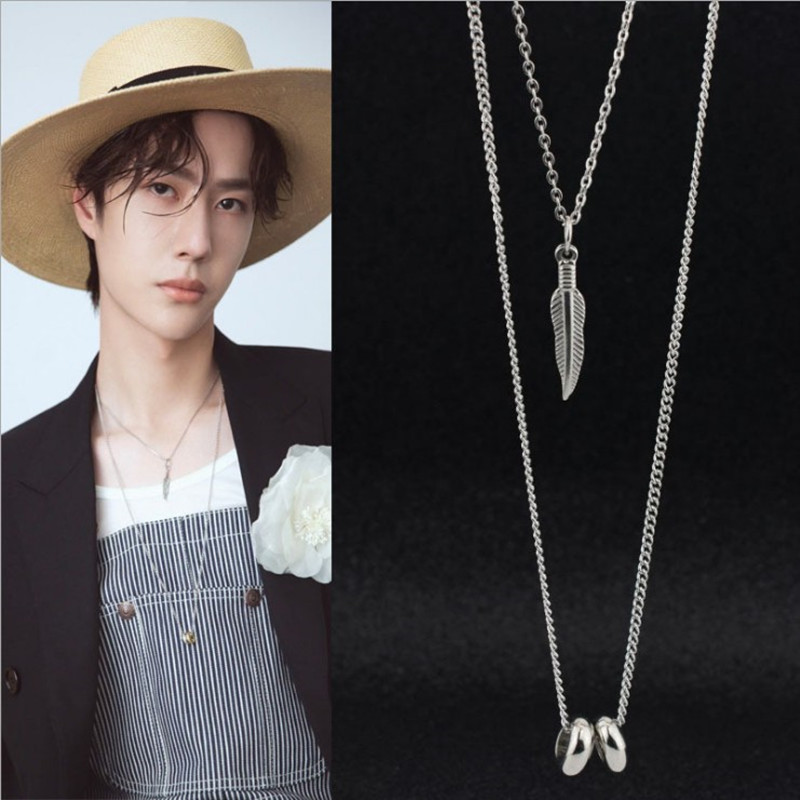GOT7 male star same double-layer necklace clavicle chain sweater chain detachable long necklace street shooting Kpop stainless(China)