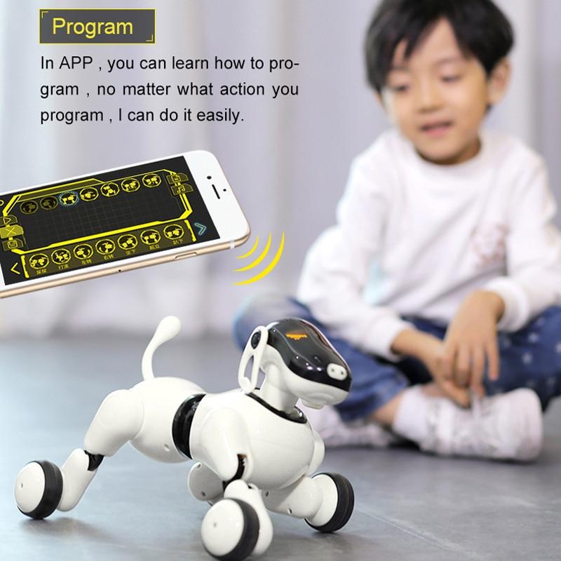 Robot perro de voz y Control de App Robot AI perro juguetes interactivos bailes canciones reproduce música táctil Control de movimiento juguetes para niños