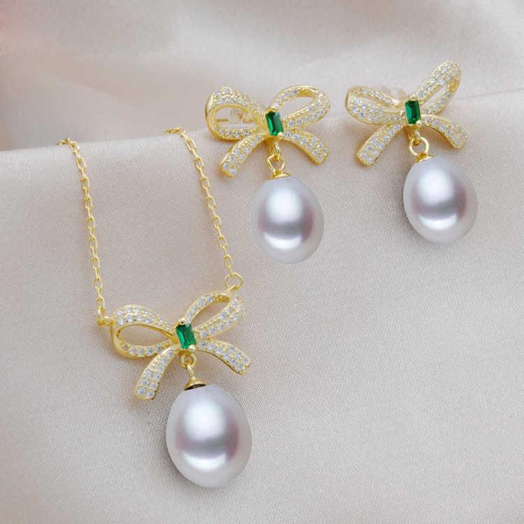 MeiBaPJ 2 Цвета Настоящее серебро 925 проба большое украшение с бантом набор риса жемчуг кулон серьги Свадебные украшения для женщин