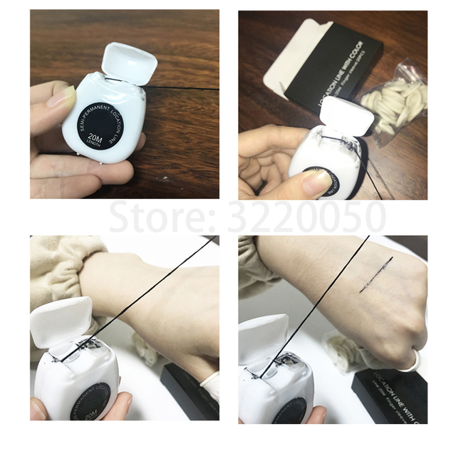 20m Microblading Mapping String Pre-Inked Eyebrow Marker thread Neat Tattoo Brows Point Surgery Line Tool with 20pcs Sleeves 2