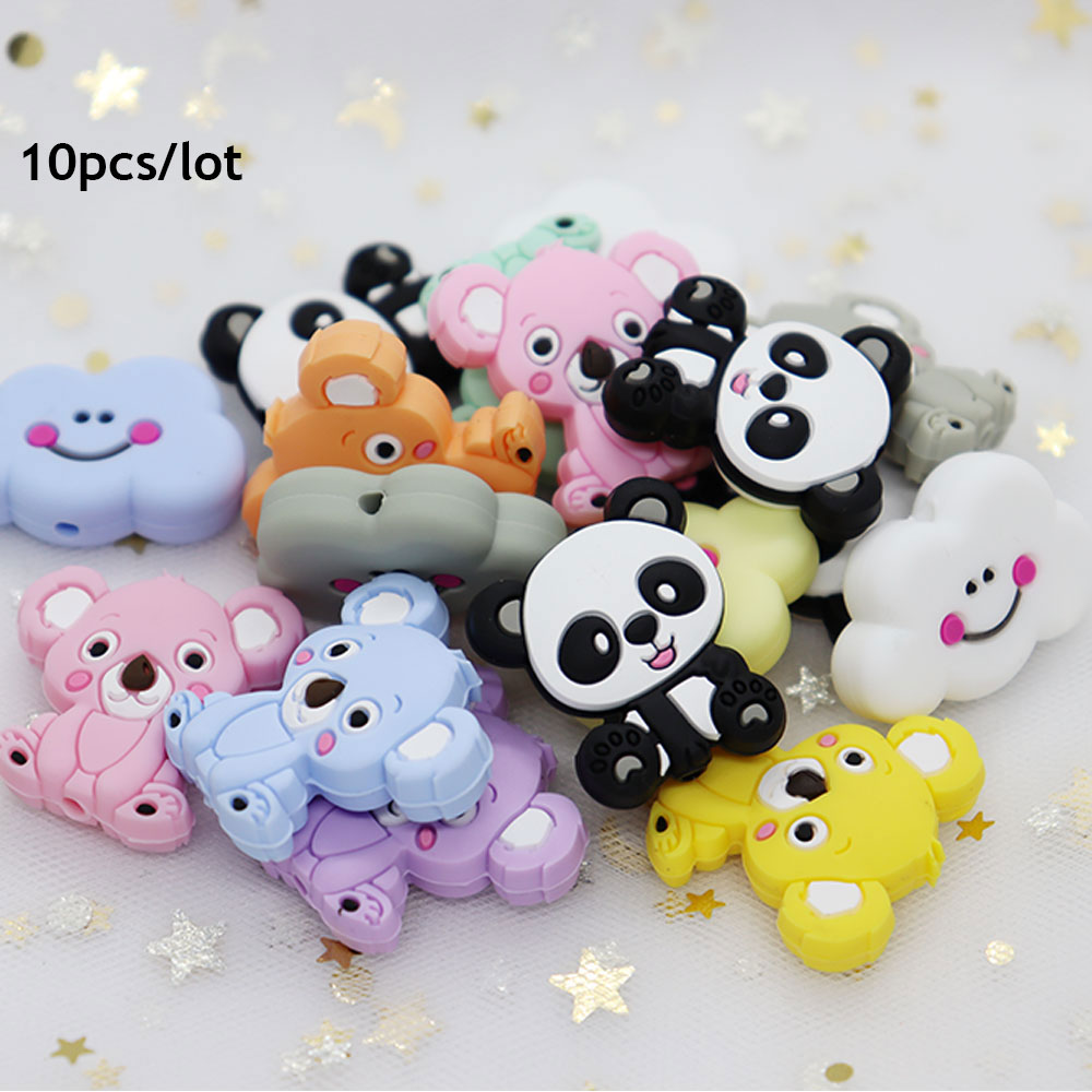 10Pcs Koala Panda Cloud Perle Silicone Beads Animal Teething Beads BPA Free Baby Teether Toys DIY Mordedor Necklace Baby Product