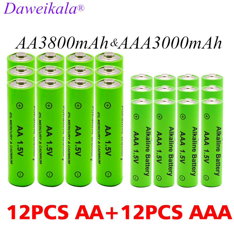AA + AAA rechargeable AA 1.5V 3800mAh/1.5V AAA 3000mah Alkaline battery flashlight toys watch MP3 player replace Ni-Mh battery(China)