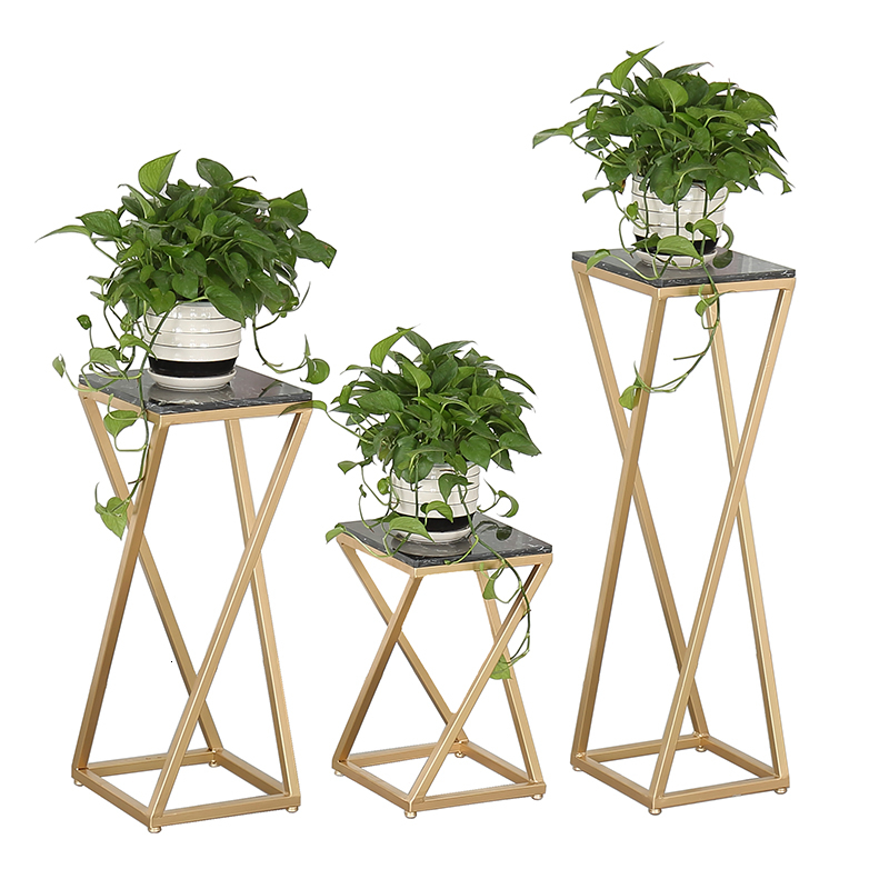 A Iron Art Marble Flower Airs Room Domestic And Foreign Square Vestibule Green Luo Flower Stand European Style To Ground Shelf