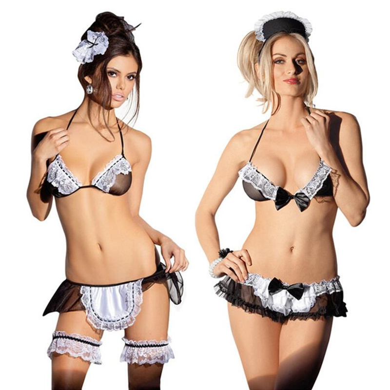 Sexy Lingerie For Role-playing Games Tempation Transparent Babydolls Sex Products Lace Maid Uniform Sexy Underwear Nightwear