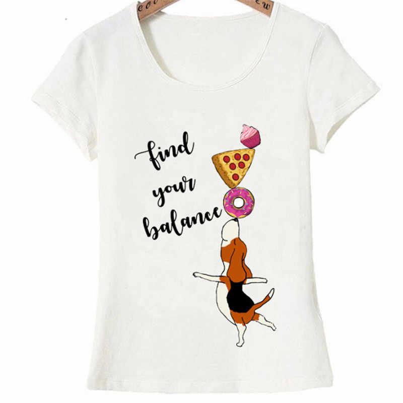 Yeni yaz kısa kollu kadın T Shirt Beagle dengeleme Donut Pizza ve kek P T Shirt moda Tee kızlar