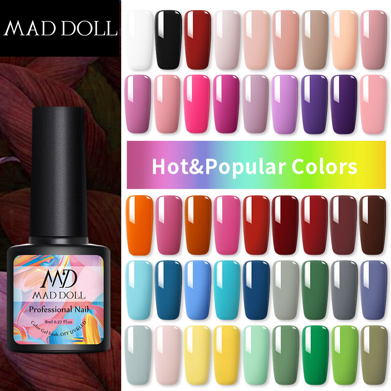 MAD DOLL  8ml Spring Series Color Gel Polish Soak Off UV Gel Manicuring Nail UV Gel Polish Nail Art DIY Nail Art Design