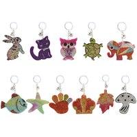 Kreative kleine geschenke neue nachahmung Schottischen kaschmir keychain schlüssel kette anhänger nette falten-ohr katze form damen tasche ornamente