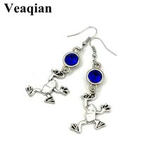 2019 / new charm frog alloy pendant birthstone earrings, handmade DIY earrings. Fashion Ear jewelry.