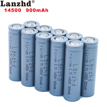 10pcs 14500 900mAh 3.7V Li-ion Rechargeable Batteries AA Battery Lithium Li ion Cell for Led Flashlight Headlamps Torch Mouse 2 4pcs unitek 3 7v 18500 battery 1800mah rechargeable li ion lithium ion cell with welding tabs pins for led torch flashlight