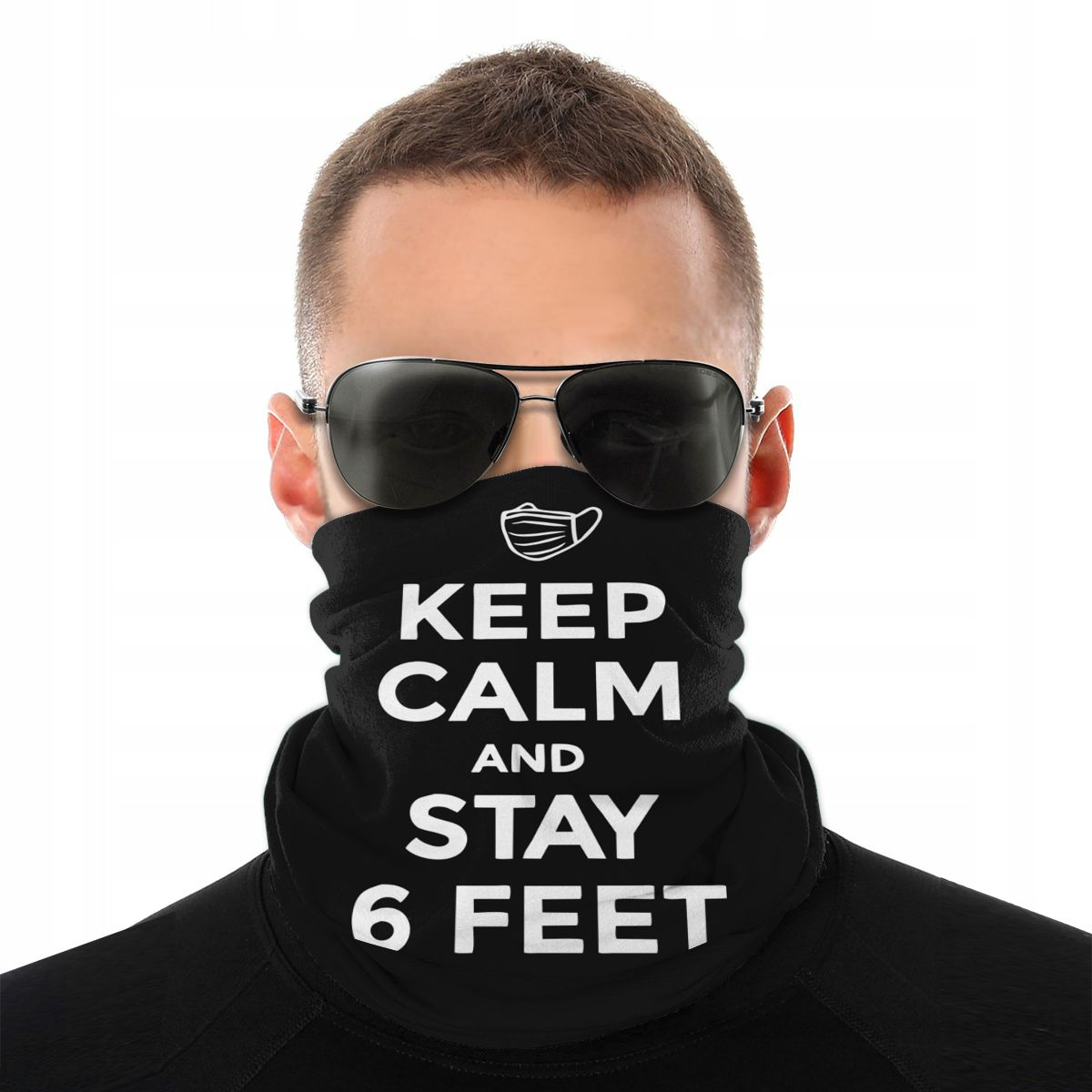 Keep Calm And Stay 6 Feet Away Magic Scarf Half Face Mask Unisex Neck Gaiter Tubular Bandanas Windproof Headwear Cycling Hiking