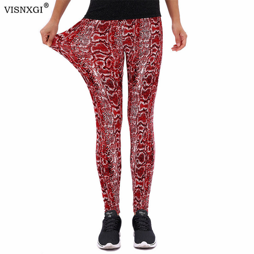 VISNXGI Snake Printed Legging Women Summer Pants Snakeskin Print Leggings Sports High Waist Pants Sexy Leggings Trousers S-XXXL