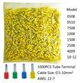 1000 шт трубка обжимной проводки электрические клеммы для кабеля  разъем для сращивания проводов AWG22-7 0 5-10 мм2