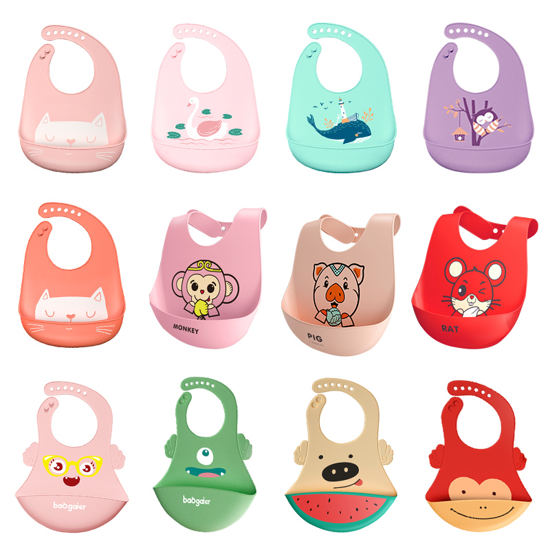 Baby Bibs Waterproof Silicone Feeding Baby Saliva Towel Newborn Cartoon Aprons Baby Bibs Adjustable Different Styles Of Bibs